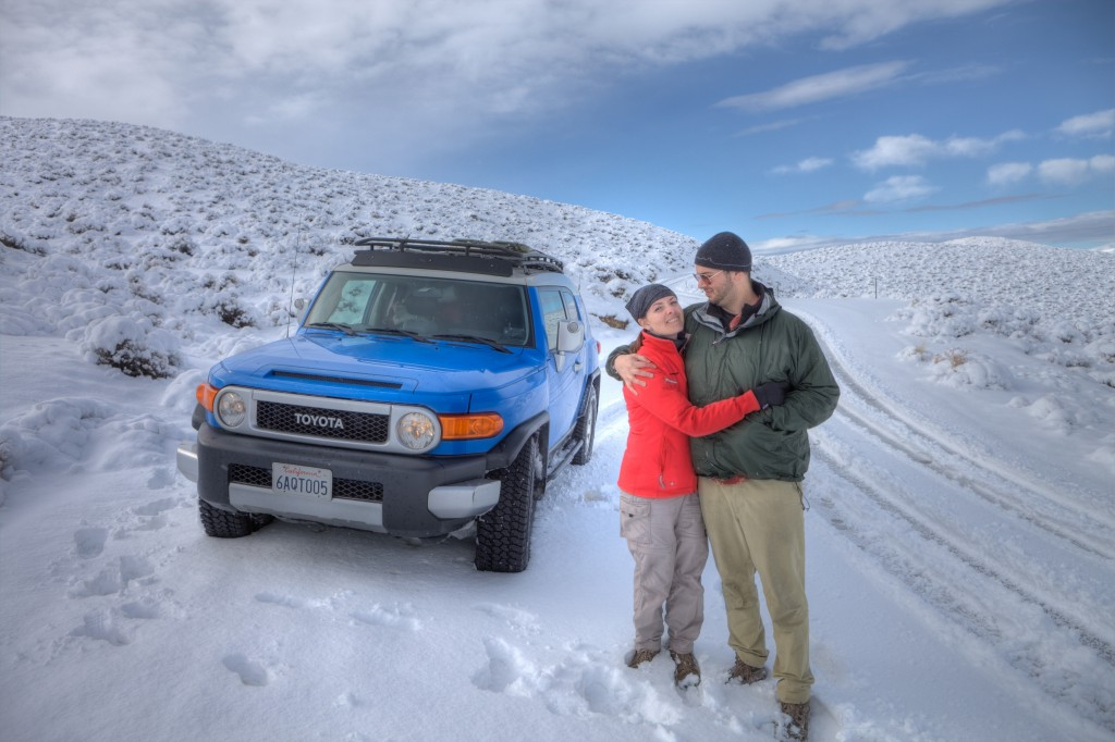 Dave and Penelope on Snow Covered Emigrant Pass