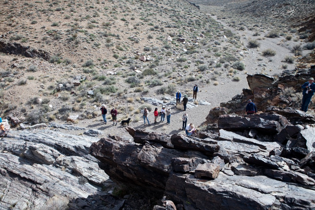 Desert Explorers Near Petroglyphs in Echo Canyon