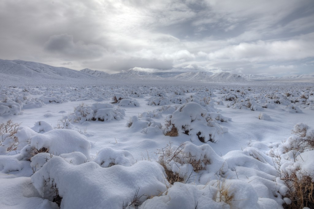 Emigrant Pass in Death Valley Covered in Snow