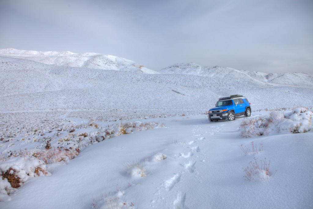FJ Cruiser on Snowy Skidoo Road in Death Valley