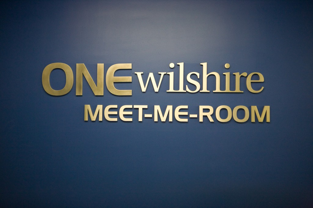 One Wilshire Meet-Me-Room Sign