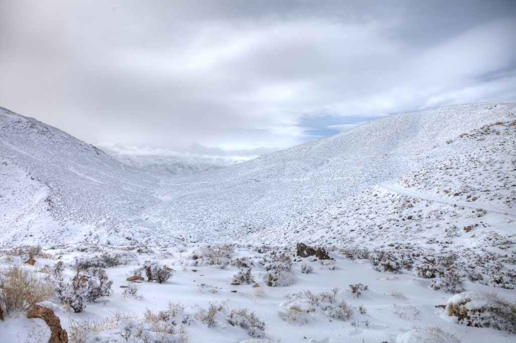 Skidoo Road Covered in Snow in Death Valley