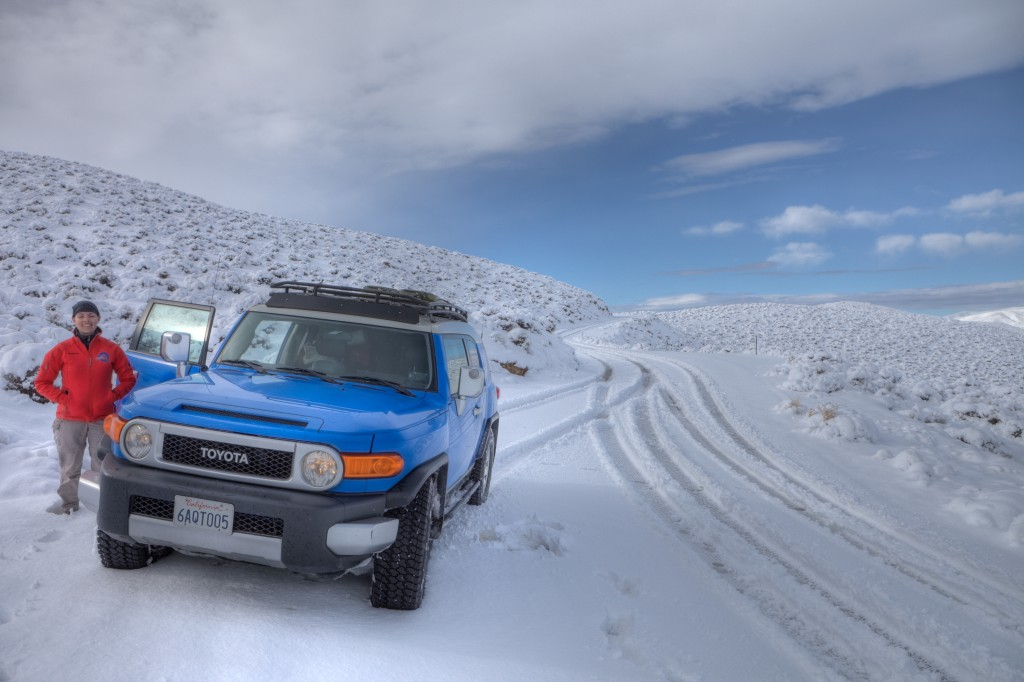 Snow Covered Death Valley, Penelope and FJ Cruiser