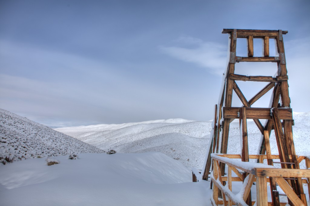 Snowy Mine Headframe on Skidoo Road in Death Valley