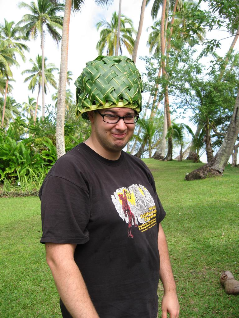dave with coconut basket hat