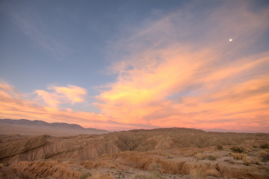 Moon and Clouds During Sunset in Anza Borrego