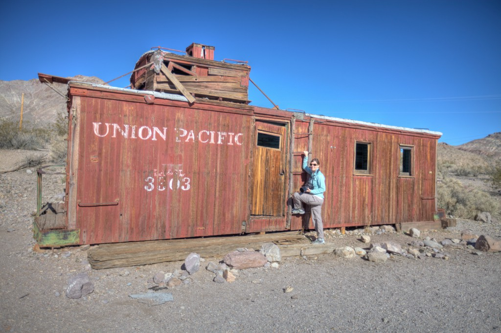 Penelope and Caboose in Rhyolite