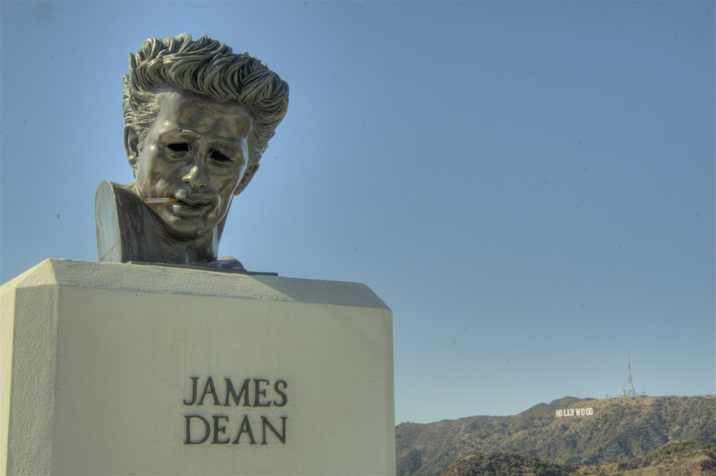 Smoking James Dean and Hollywood Sign