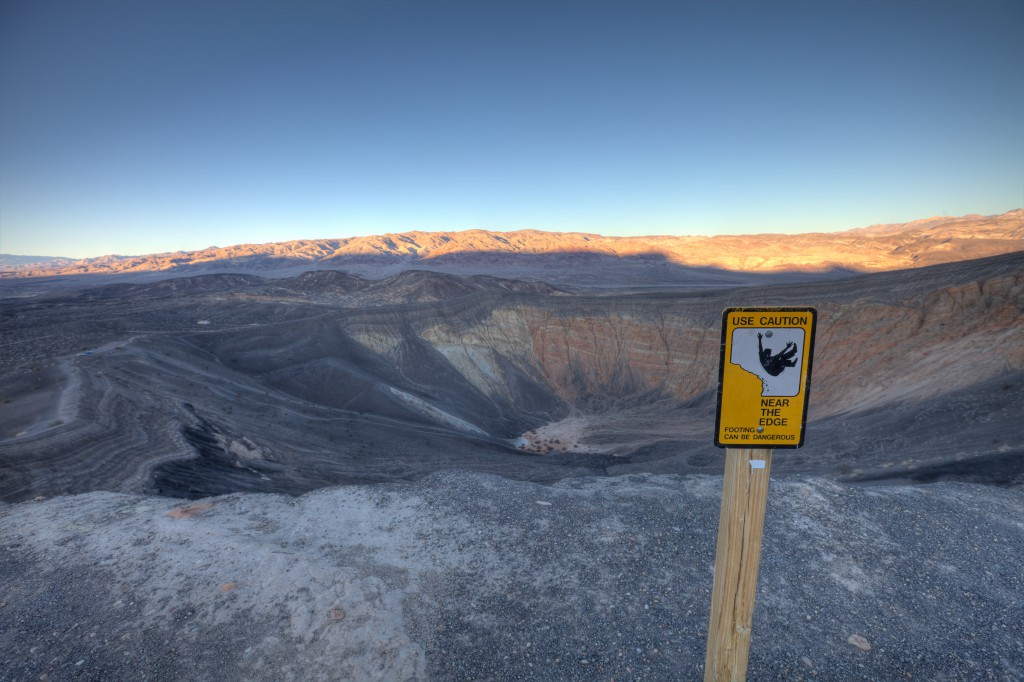 Use Caution Near The Edge Sign at Ubehebe Crater