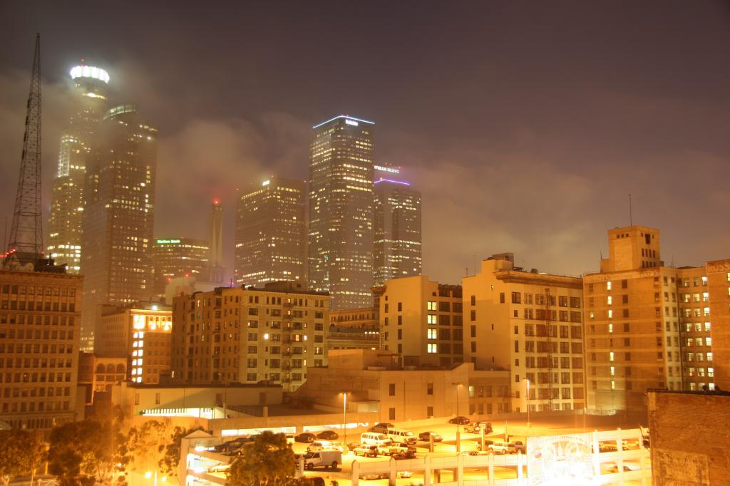 downtown los angeles at night from the window of our loft