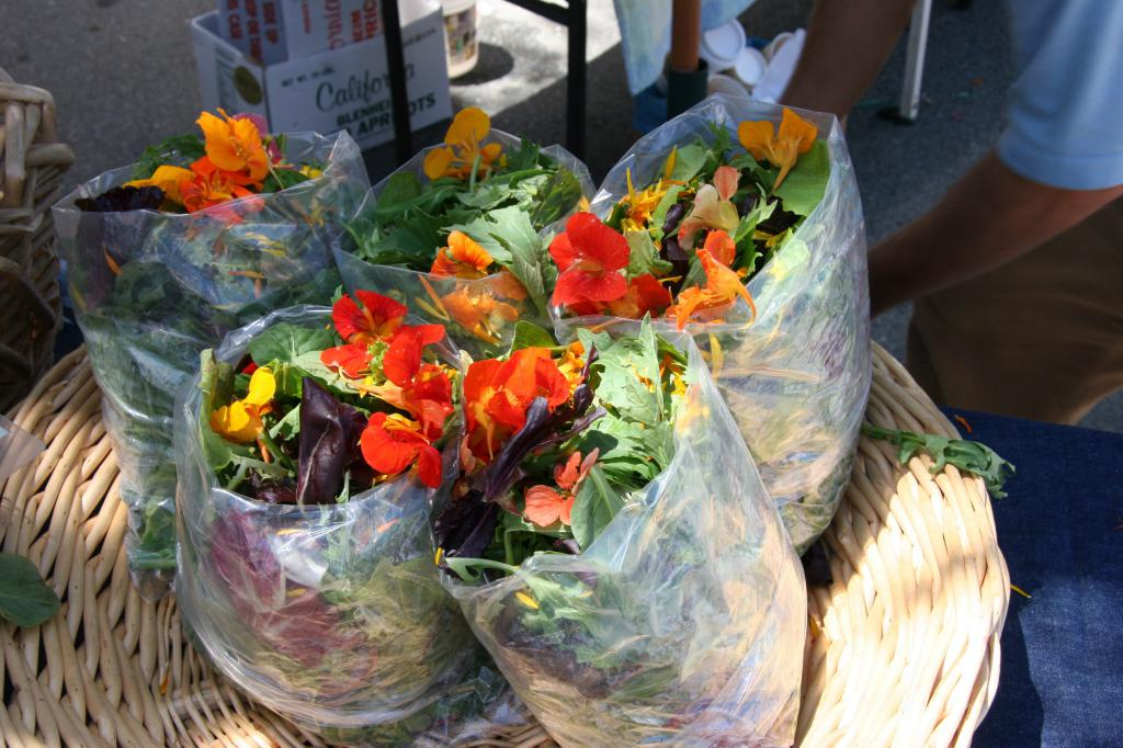 organic baby greens and edible flowers